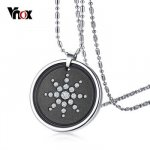 """Vnox Scalar Quantum Energy Ions Pendant for Men Necklace Lava Stone Crystals Stainless Steel 25"""" Chain w/ Box Card..."""