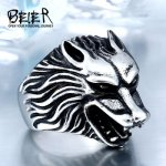 BEIER 2017 Dropshipping Cool Wolf Stainless Steel Man Punk Biker Ring BR8-075 US Size