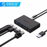 ORICO USB3.0 + Gigabit Ethernet Порты и разъёмы концентратор мини концентратор...