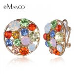 Round shaped crystal earrings Spring 2016 new arrival eManco multicolor clip earrings for women fashion jewelry ER50348