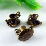 10pcs/pack Vintage Antique Bronze Alloy Coffee Cup Pot Bracelet Charms Necklace Pendants Handmade Craft Jewelry Findings...