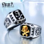 Drop Shipping Sale Stainless Pirate Part Plated-Gold Skull For Man Titanium Steel Boy's Punk Ring BR8-331